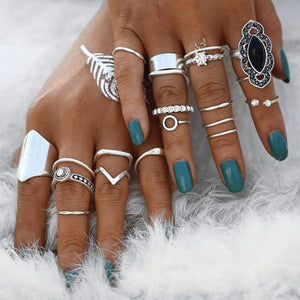 Bohemian Black Stone Silver Ring Set - Nymph & Co