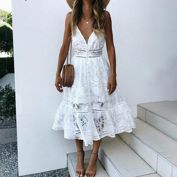 Lace Button Up Summer Dress - Nymph & Co