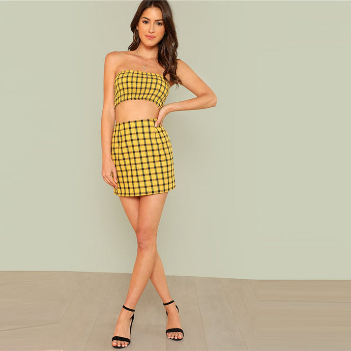 Oh Yellow Plaid Two Piece Crop Top & Skirt Set - Nymph & Co