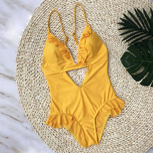 Yasmine Yellow Frill Cut Out Swimsuit - Nymph & Co