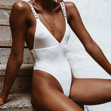 Ria Ribbed Slogan High Cut Swimsuit - Nymph & Co
