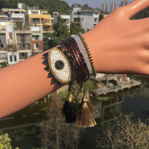 Eye See You Black Beaded Bracelet - Nymph & Co