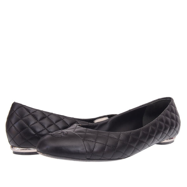 Black Leather Quilted CC Ballerinas