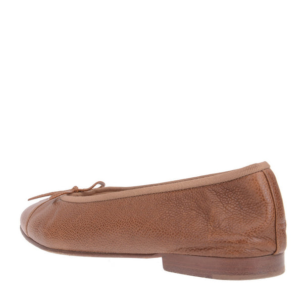 Camel Grained Leather Bow Tied Ballerinas
