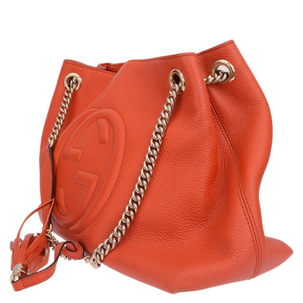 Orange Nubuck Medium Soho Chain Shoulder Bag