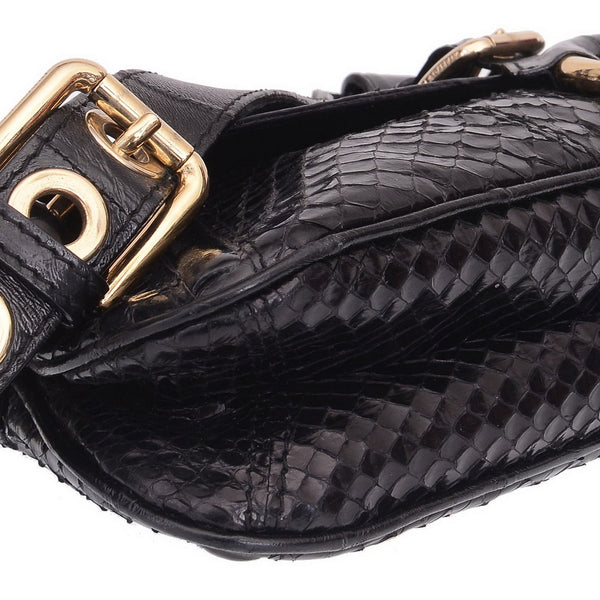 Black Python Ring Shoulder Bag