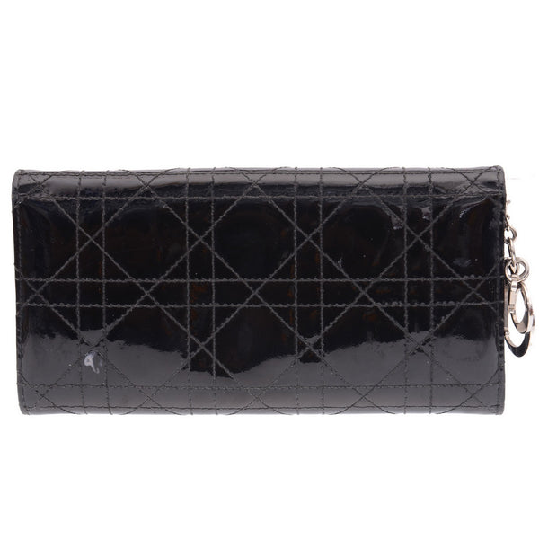 Black Patent Cannage Quilt Wallet