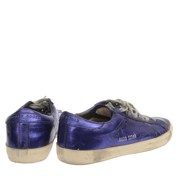 Metallic Blue Leather Sneakers