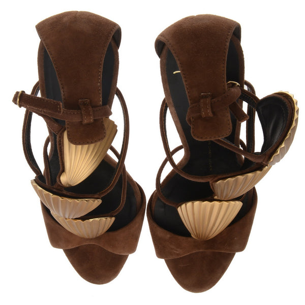 Brown Suede Shell Sandals