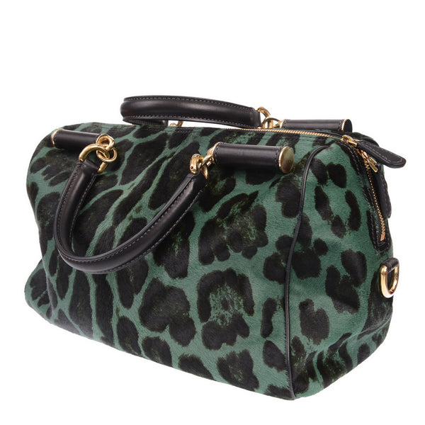 Green Leopard Print Hand Bag