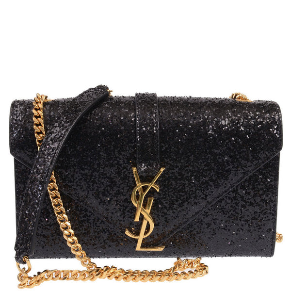 Black Monogram Glitter Shoulder Bag