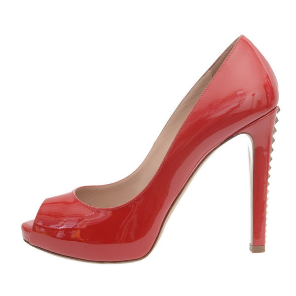 Red Patent Leather Rockstud Pumps