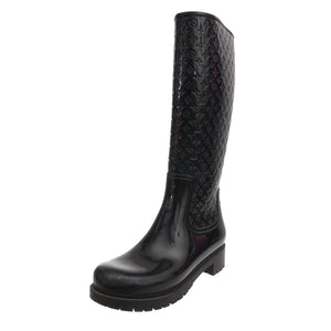 Black Rubber LV Monogram Rain Boots