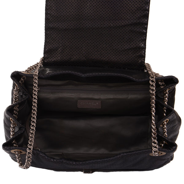 Black Drill Perforated Leather Classic Flap Accordion Bag