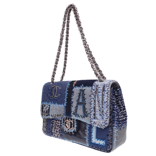 Classic Flap Denim Patchwork Jumbo Shoulder Bag