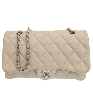 Classic Grey Quilted Lambskin Shoulder Bag
