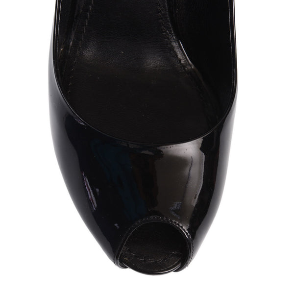 Black Patent Leather Oh Really! Peep Toe Pumps
