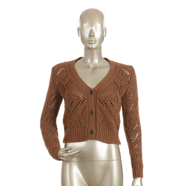 Chestnut Cashmere Perforated Cardigan