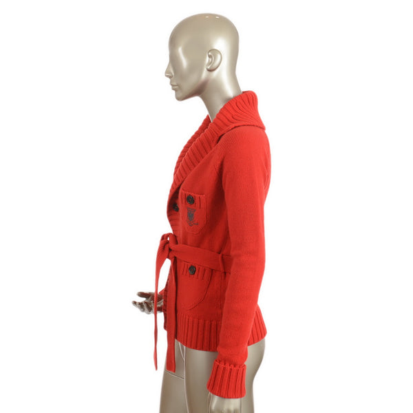 Candy Red Wool & Cashmere Cardigan