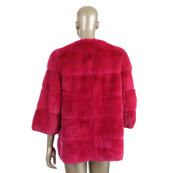 Fuchsia Rabbit Fur Jacket