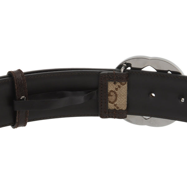 Guccisima Brown Monogram Canvas GG Buckle Belt