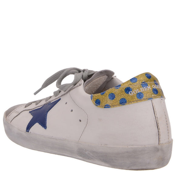 White Leather With Blue Star Trainers