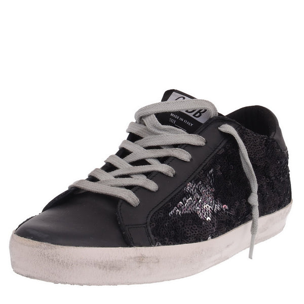 Black Matte Leather With Sequins Trainers