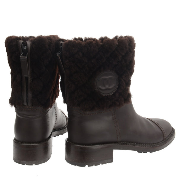 Brown Leather Fur Snow Boots