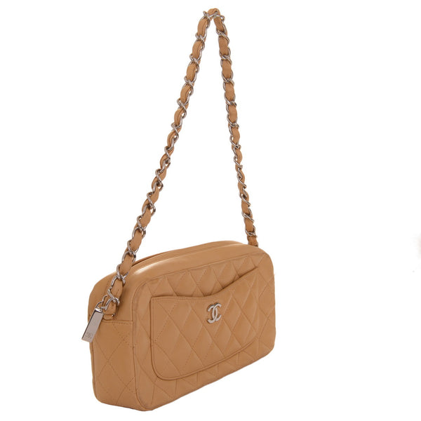 CC Light Medium Purse Beige Leather Shoulder Bag