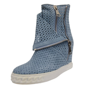 Perforated Suede Sky Blue Wedge Boots
