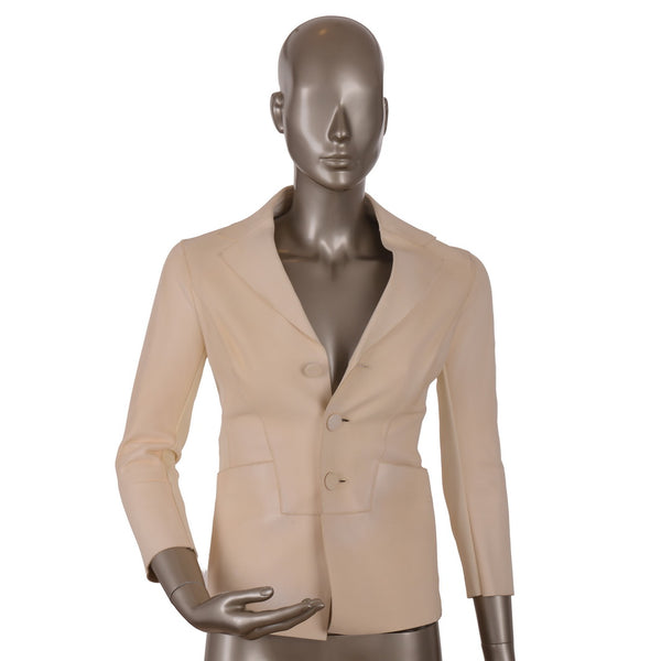 Cream Calf-Skin Leather Blazer