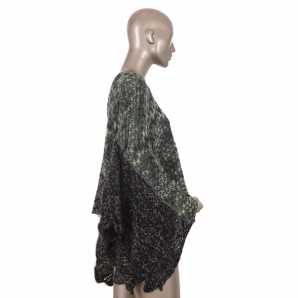 Dark Green Kaftan Tweed Top