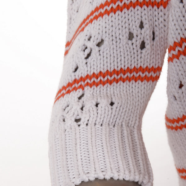 Orange Pointelle-Paneled Striped Jumper