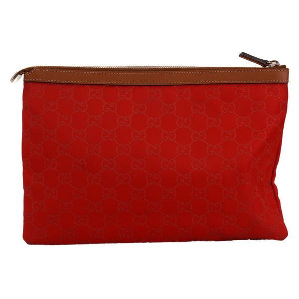 Red Large Ziptop Monogram Clutch