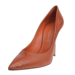 Orange Blade Croc Printed Patent Pumps