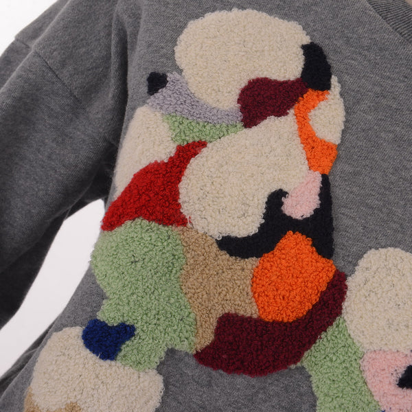 Knitted Colorful Puppy Grey Jumper