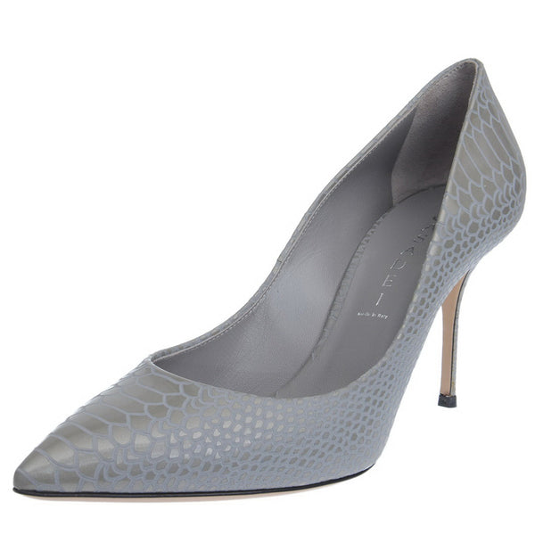 Grey Blade Croc Printed Patent Pumps