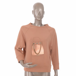 Pink Gold Chain Bag Embellished Jumper