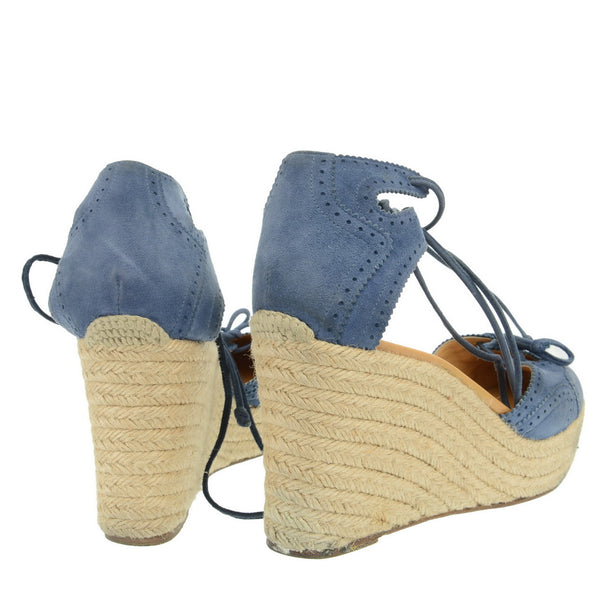 Blue Suede Lace Tie Wedges