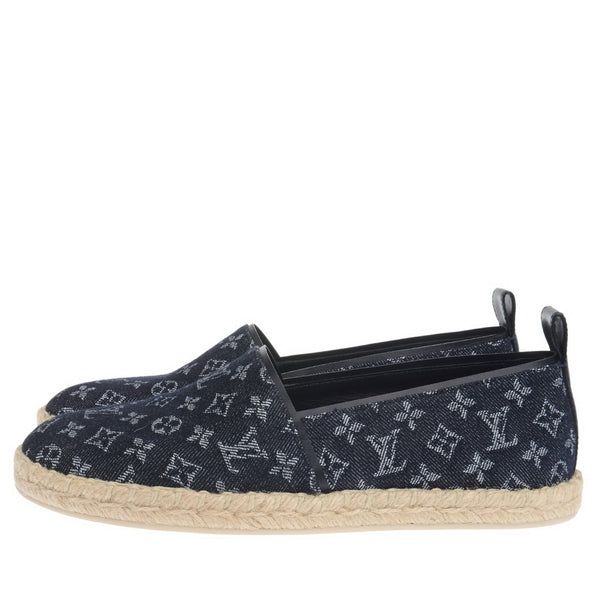 Blue Denim Monogram Waterfall Espadrilles Flats