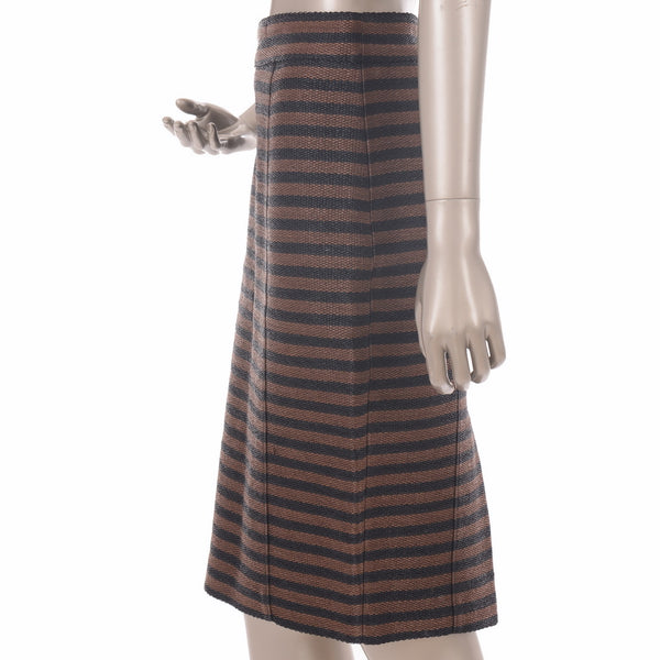 Striped Black & Brown Pencil Skirt