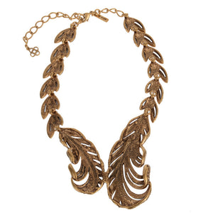 Gold Crystal Embroided Necklace