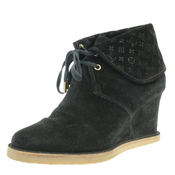 Lace Up Black Suede Ankle Boots