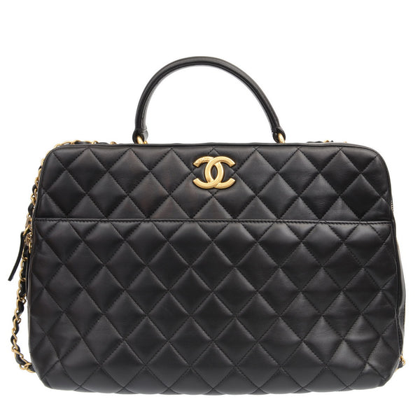 Black Trendy CC Large Bowling Quilted Bag