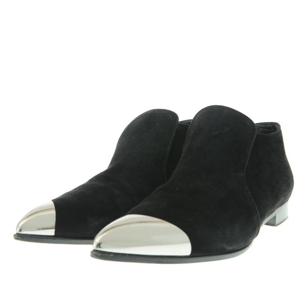 Black Suede Ankle Boots Silver Tip