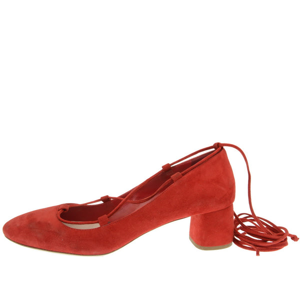 Red Lace Up Block Heel Pumps