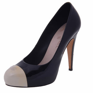 Black And White Patent Cap Toe Pumps