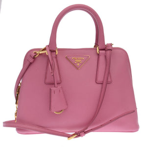 Pink Saffiano Lux Leather Mini Promenade Crossbody Bag