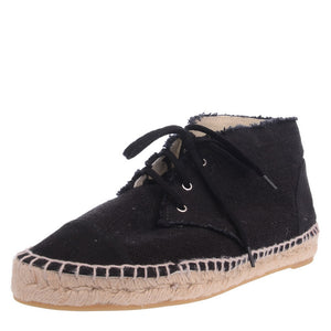 Black Cloth Lace Up Espadrilles Ankle Sneakers