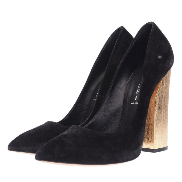 Black Suede Gold Wood Heel Pumps